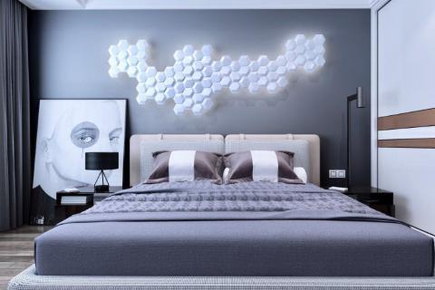 smart-art-bespoke-3d-wall-boards-hexagon-bedroom