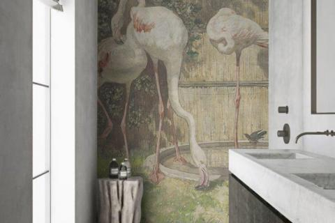 smart-art-bespoke-bathroom-vintage-flamingo-wallpaper