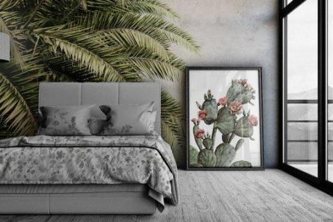 Smart-Art-Bedroom-with-Palm-Tree-Wallpaper-and-Cactus-Frame