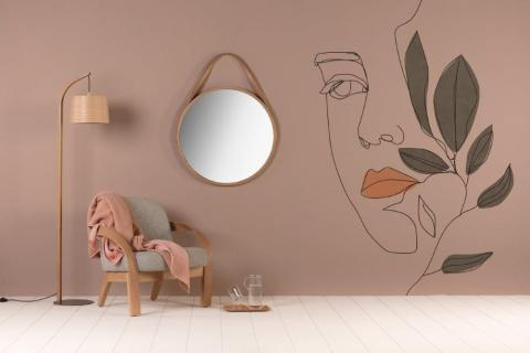 smart-art-wall-vinyl-decals-abstract-line-art-womans-face-green-leaves-atristic-design