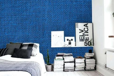 abstract-painting-in-luxurious-interior-with-close-knitted-blue-texture-on-wallpaper-linen-