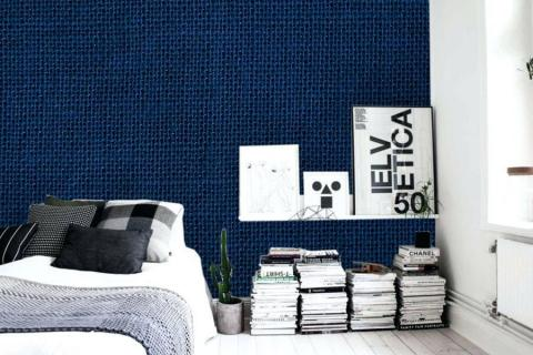 abstract-painting-in-luxurious-interior-with-close-knitted-blue-texture-on-wallpaper-linen-dark-blue-