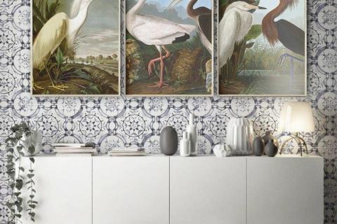 smart-art-delft-tiles-designer-wallpaper-with-vintage-bird-art-bespoke-picture-frames-1