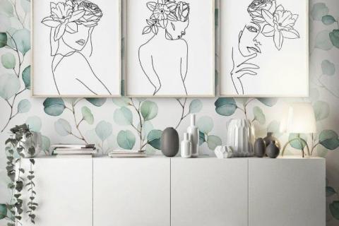 smart-art-eucalyptus-designer-wallpaper-with-line-art-bespoke-picture-frames