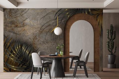 smart-art-bespoke-printed-wallpaper-dining-room-gold-leaves
