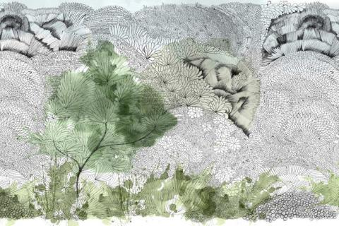 smart-art-wallpaper-design-Trend-2021-grass-neutral-beige-grey-soft-pantone-designs-5