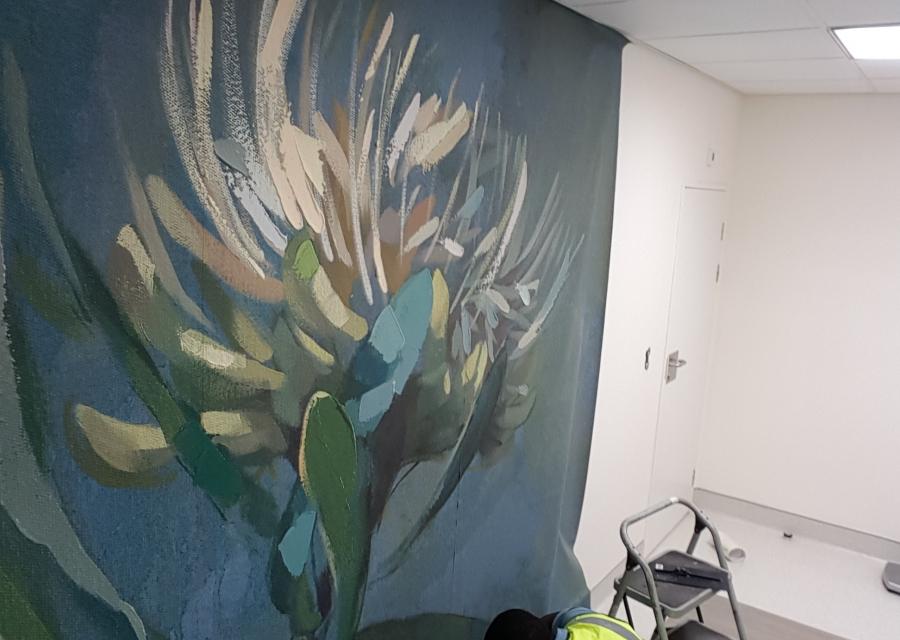 Smart-Art-wallpaper-installation-Christian-Barnard-Netcare-Hospital-Radiology-unit-floral-painting-art-1
