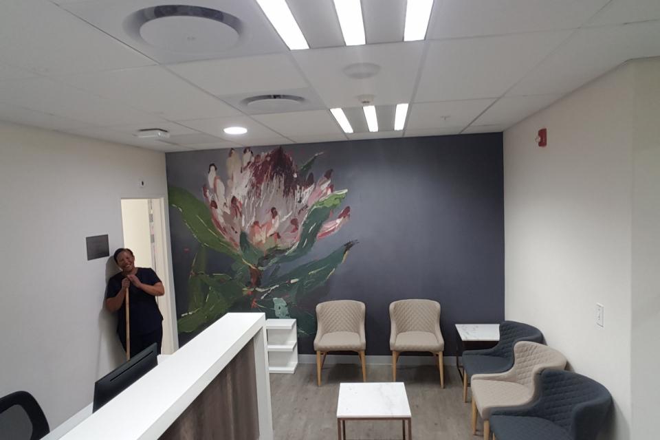 Smart-Art-wallpaper-installation-Christian-Barnard-Netcare-Hospital-Radiology-unit-floral-painting-art-5