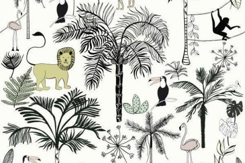 smart-art-kiddies-wallpaper-r-tiger-monkey-bird-flamingo-lion-2