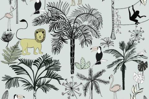 smart-art-kiddies-wallpaper-tiger-monkey-bird-flamingo-lion-1