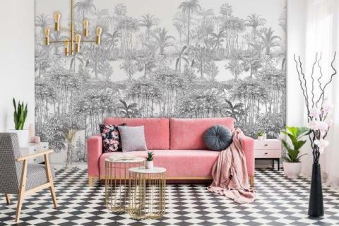 Smart-Art-Living-Room-Black-and-White-Palm-Tree-Wallpaper