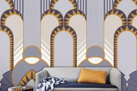 Smart-Art-Living-Room-Blue-and-Yellow-Arch-Wallpaper