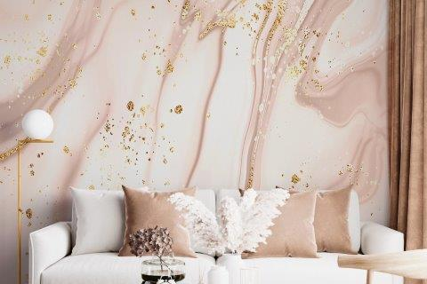 Smart-Art-Living-Room-Pink-and-Gold-Marble-Wallpaper