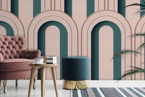 Smart-Art-Living-Room-Teel-and-Pink-3D-Arch-Art-Deco-Wallpaper