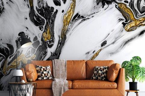 Smart-Art-Living-Room-with-Black-and-Gold-Marble-Wallpaper