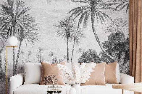 Smart-Art-Living-Room-with-Black-and-White-Palm-Trees-Wallpaper
