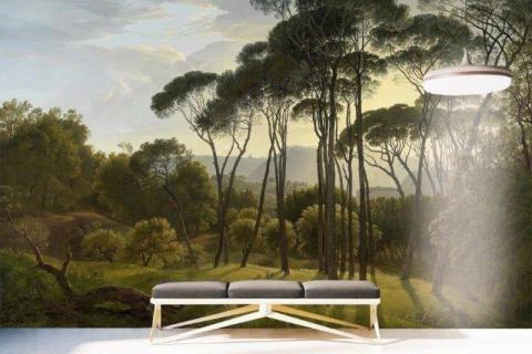 smart-art-bespoke-entrance-printed-wallpaper-landscape-scenery-sunset
