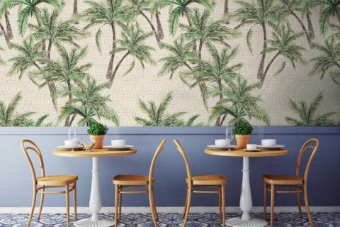 smart-art-designer-textured-palm-wallpaper-with-delft-mosaic-floor-tiles