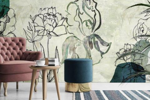 smart art designer wallpaper flowers line art on textured aesthetic design