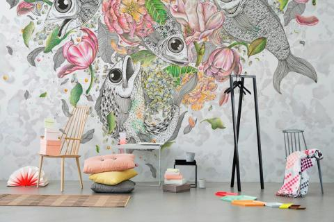 smart-art-kids-wallpaper-designs-fish-flowers-in-black-and-white-with-colour