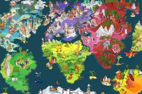 1_smart-art-designs-world-map-vintage-maps-book-shelves-wallpaper-3-wall-art-34