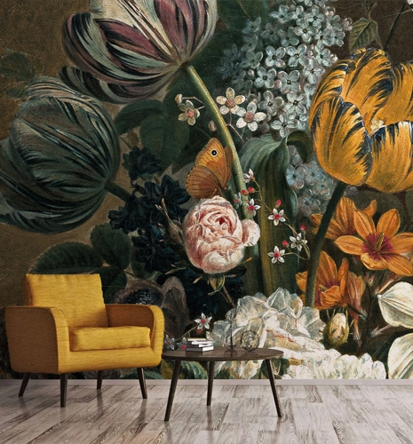 smart art vintage new your style furniture scandi trend 2021 big oversize yellow flowers wallpaper