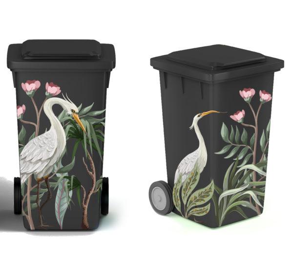 Smart Art Bespoke Printed Wheelie Bin Vinyl Bird and Flowers