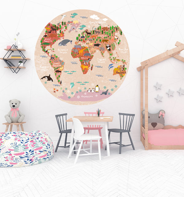 Smart Art Bespoke Printed Vinyl Stickers World Map in Kids room