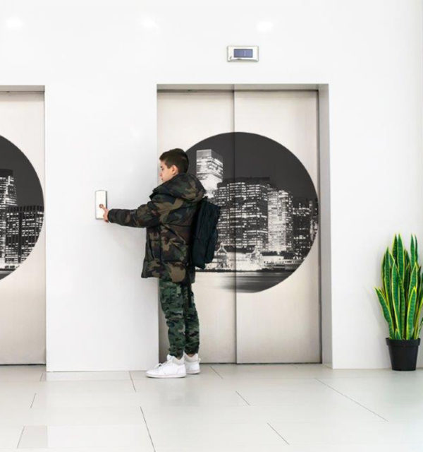 Smart Art Bespoke Printed Vinyl Stickers Elevator Doors