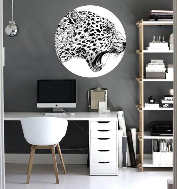 Smart Art Bespoke Printed Vinyl Stickers Leopard in home office