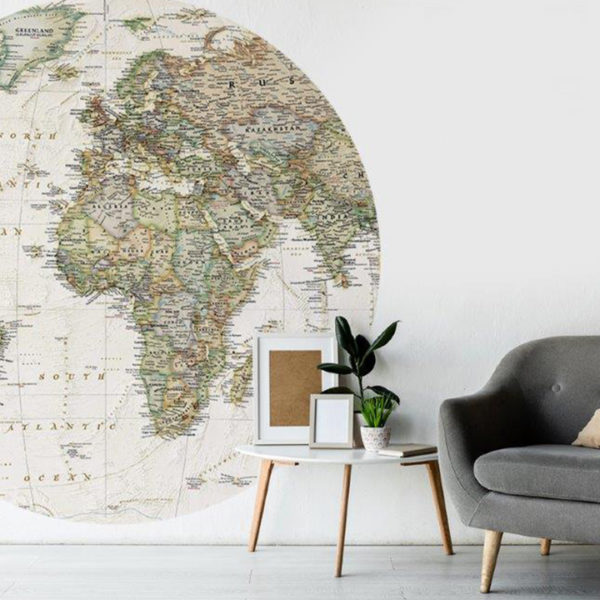Smart Art Bespoke Printed Vinyl Stickers world map with chair