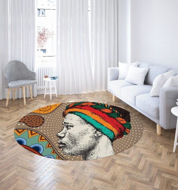 Smart Art Bespoke Printed Round Carpet African Woman
