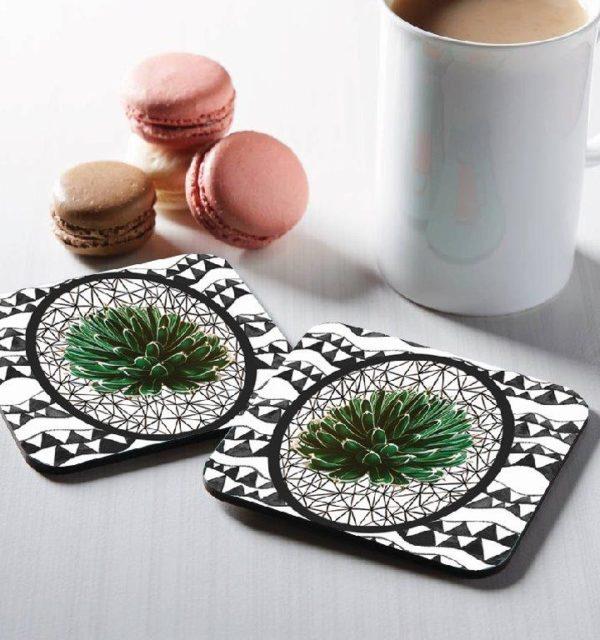 Smart Art Bespoke Designer Square Coasters Boho and Plant