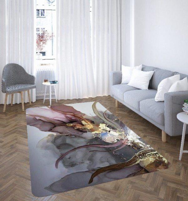 Smart Art Bespoke Printed Carpet Pink Grey Gold Abstract