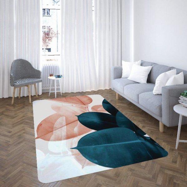 Smart Art Bespoke Printed Carpet Cobalt Green Leaves