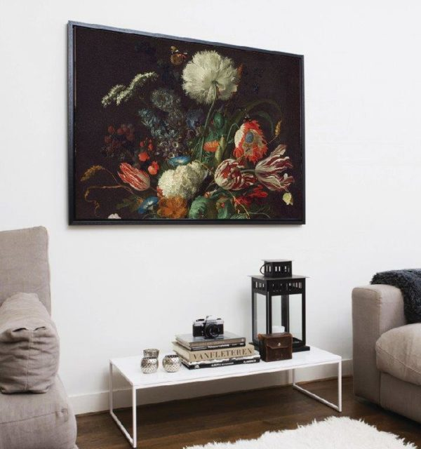 Smart Art Printed Canvas bunch of Vintage painted flowers-