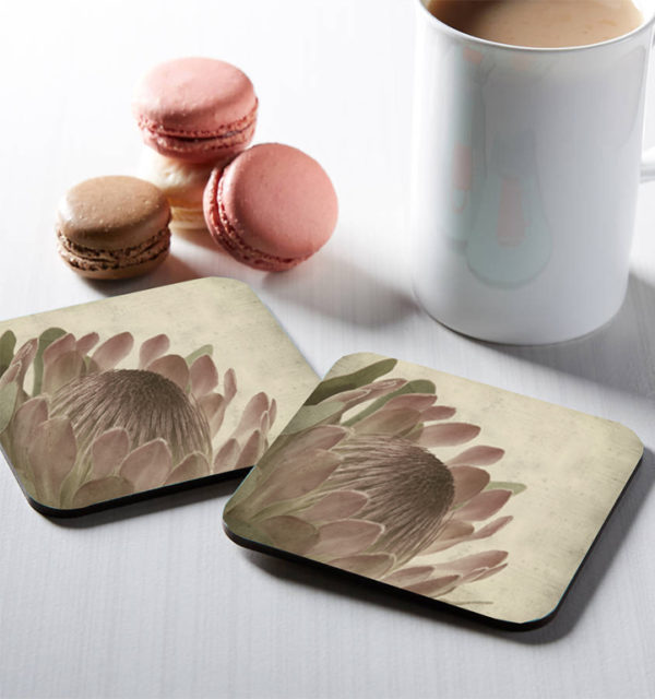 Smart Art Printed Square Coasters Protea