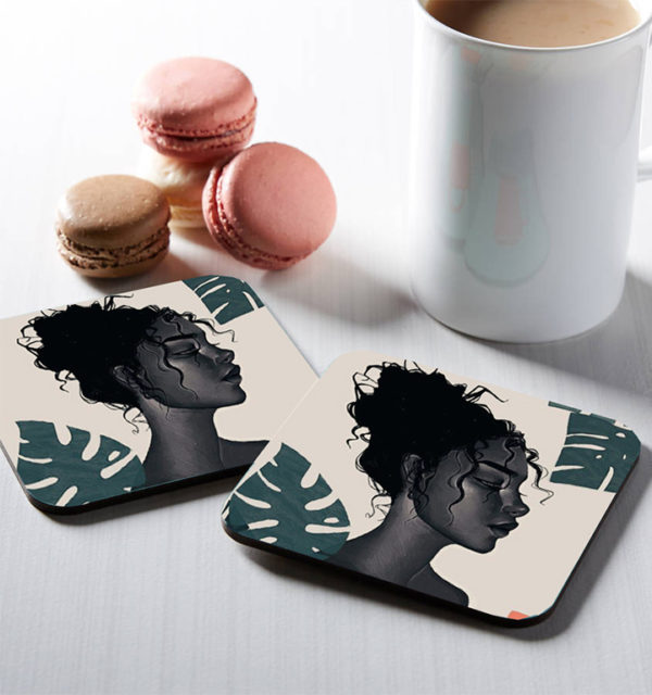 Smart Art Printed Square Coasters Woman