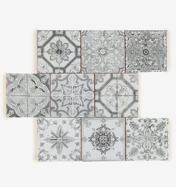 Smart Art Printed Tiles Black and White Design