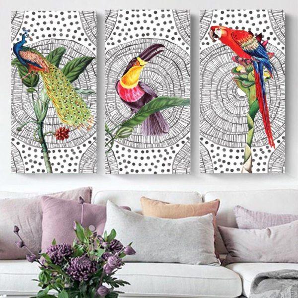 Smart Art Printed Triptych Boho Birds