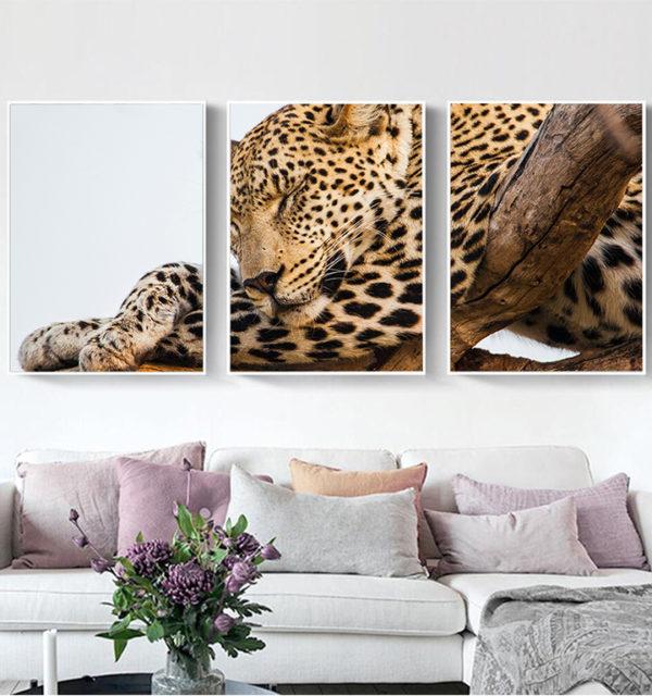 Smart Art Printed Triptych Canvas Cheetah
