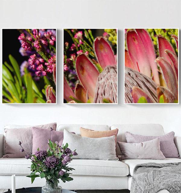 Smart Art Printed Triptych Canvas Protea