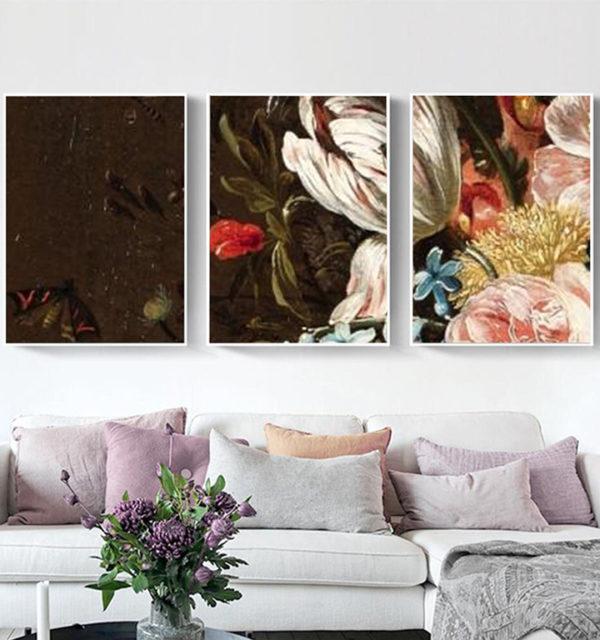 Smart Art Printed Triptych Canvas Vintage Flowers