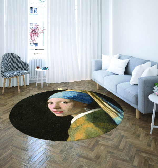 Smart Art Bespoke Printed Round Carpet Girl with the pearl earrings