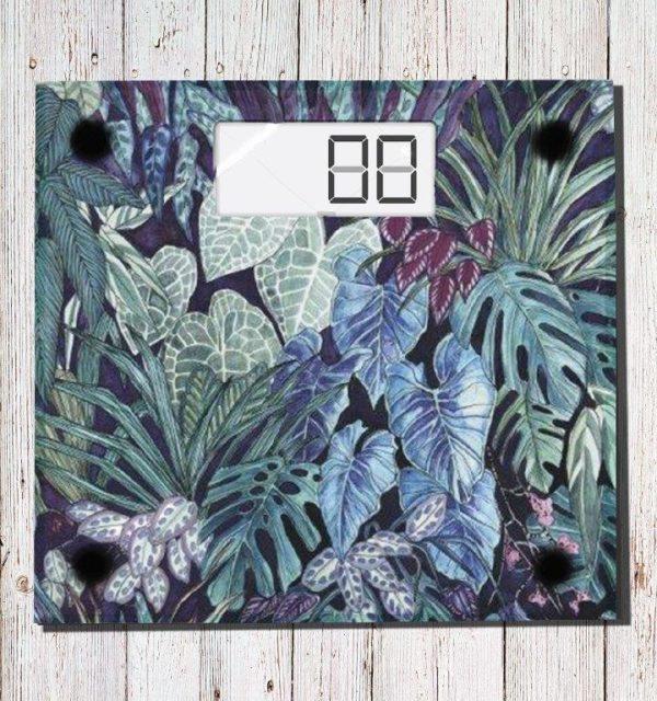 Smart Art Bespoke Printed Scale Green & Blue Leaves Jungle