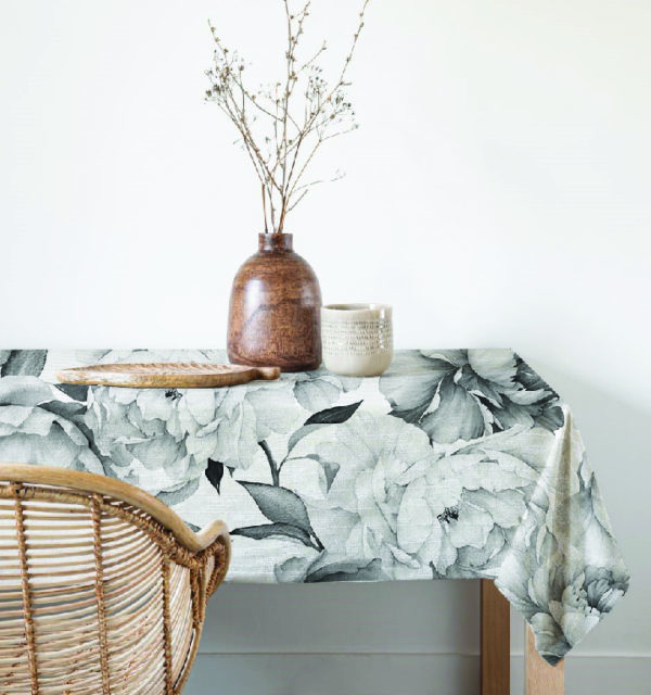 Smart Art Bespoke Printed Table Cloth Black and White Flowers