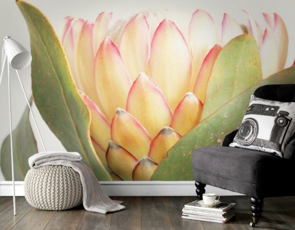 painted protea wall mural rustic design with mustard yellow interior decor