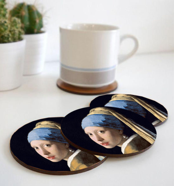 Smart Art Printed Coasters Girl with the Pearl Earring