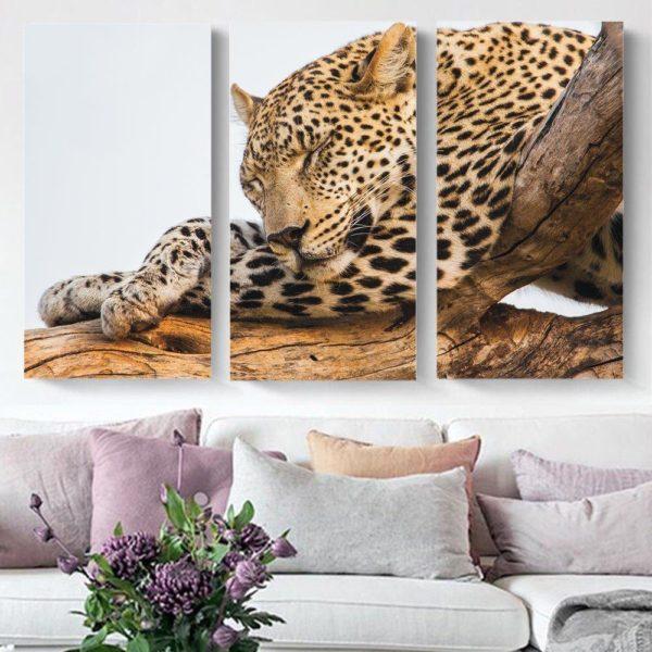 Smart Art Printed Triptych canvas Leopard