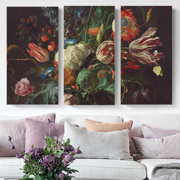 Smart Art Printed Triptych canvas Vintage Floral